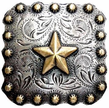 Antique Silver & Gold Square Berry Star Concho