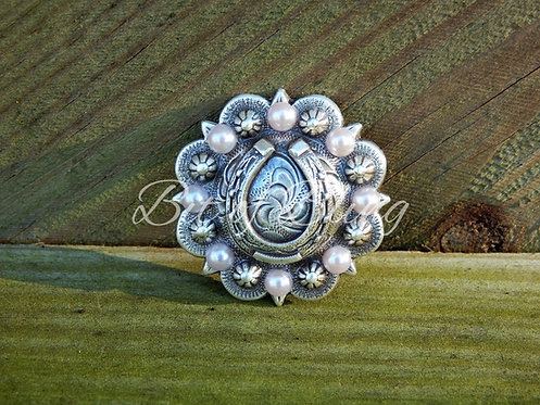 Antique Silver Round Berry Horseshoe Concho - Light Rose Pearls
