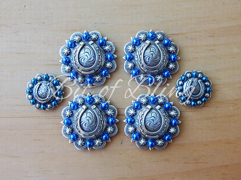 Antique Silver Round Berry Horseshoe Saddle Concho Set - Sapphire Pearls