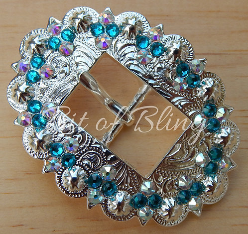 Shiny Silver Berry Cart Buckle - Blue Zircon & Crystal AB
