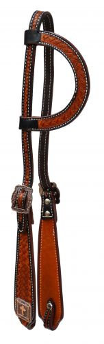 Basketed Tool Copper Cross Concho One Ear Leather Headstall