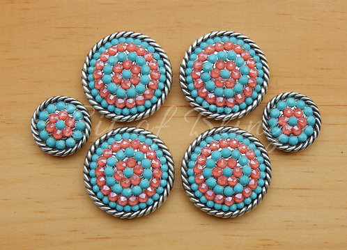 Antique Silver Round Rope Edge Saddle Set - Turquoise & Coral