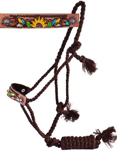 Cactus Feather Sunflower Mule Tape Bronc Halter w/ Lead
