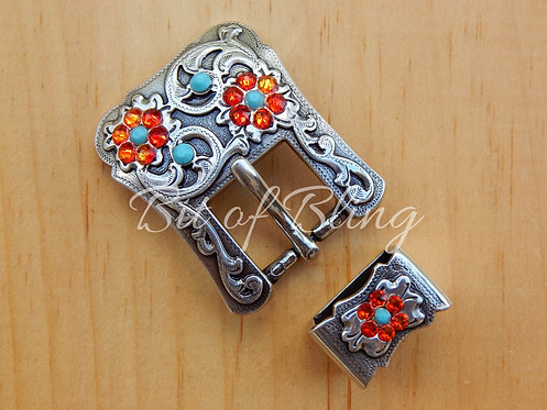 Antique Silver 2pc Western Buckle - Turquoise & Fire Opal