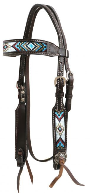 Beaded Leather Headstall #13739