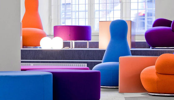Kvadrat textiles have been used throughout the new Skype office in Stockholm.
