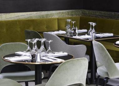 The sleek interiors for Monsieur Bleu restaurant, Paris