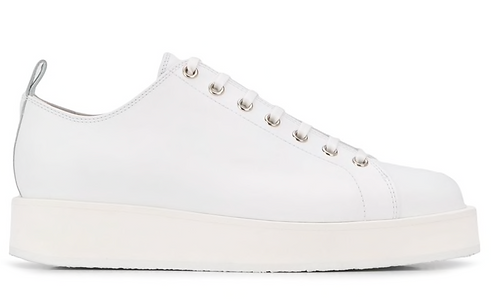 White Leather Trainer with Built Up Sole