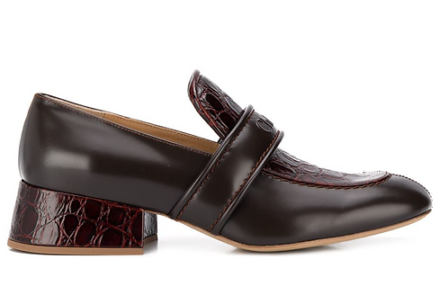 Dark Tan 'Cheryl' Polished Leather and Pressed Croc Loafer