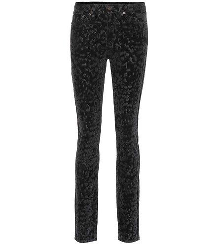 Black Flocked Leopard Velvet Jean