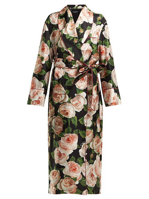 Rose Print Floor Length Silk Kimono Jacket