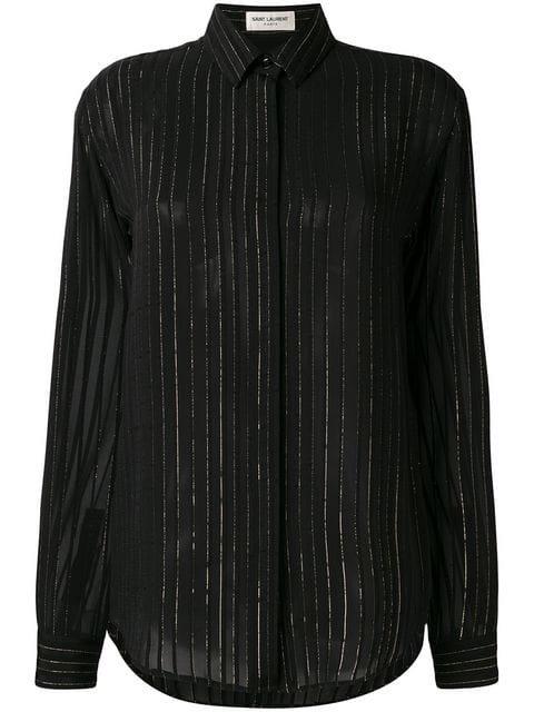 Black Lurex Stripe Sheer Shirt
