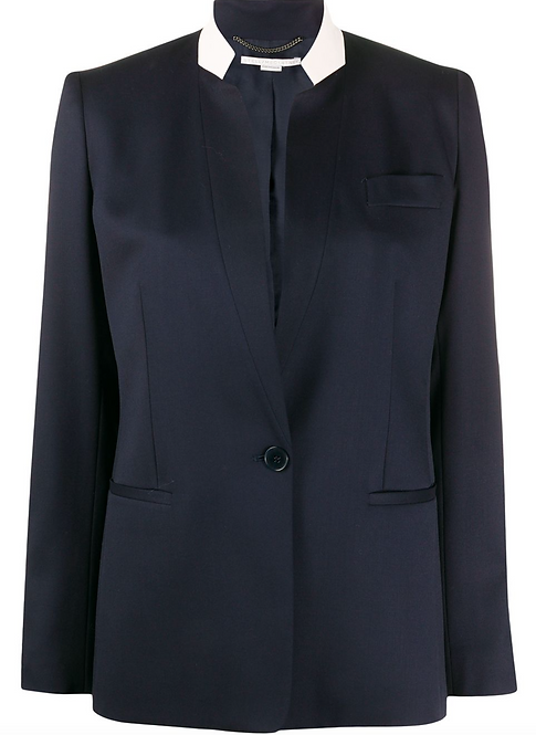 Navy Blazer with contrast stand pink collar