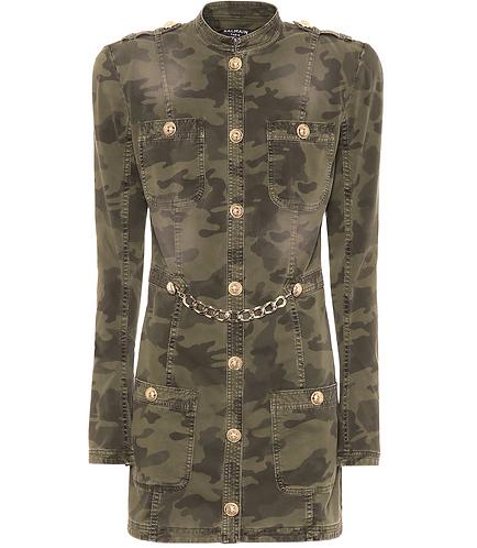 Camouflage Chain Embellished Mini Dress