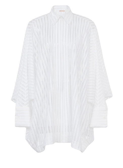White Sheer Stripe Long Sleeve Oversize Shirt