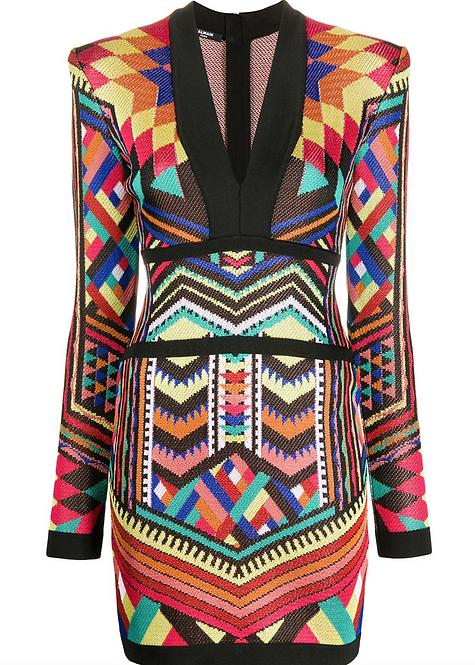 Multicolour Geometric Print Longsleeve Knit Dress