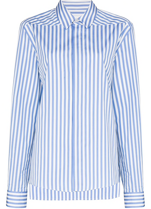 Blue & White Stripe Silk Shirt