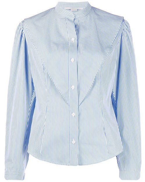 Blue and White Stripe Cotton Fitted Shirt