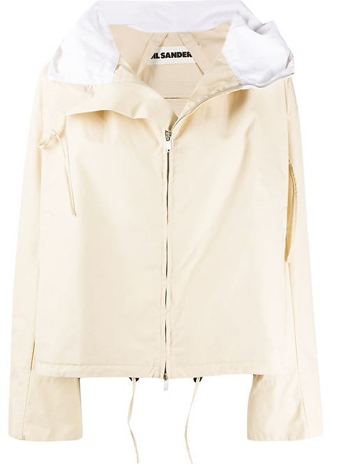 Two Tone Beige & White Hooded Jacket
