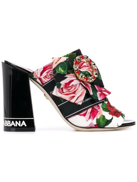 Black & Rose Print Ribbon Mule (6cm)