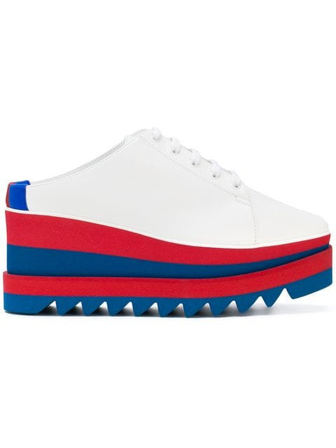 White Sneakerlyse Backless Platform with Stripe Sole