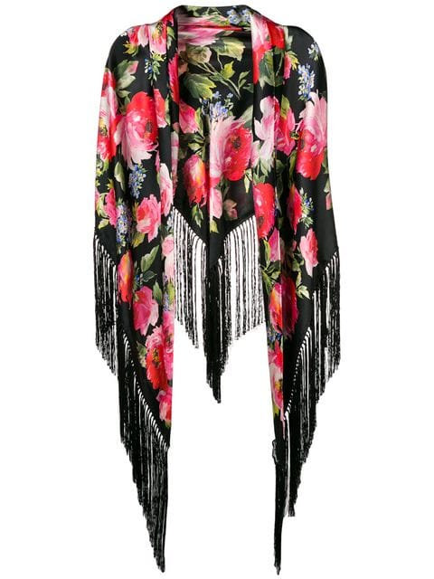 Black Rose Print Tassle Shawl
