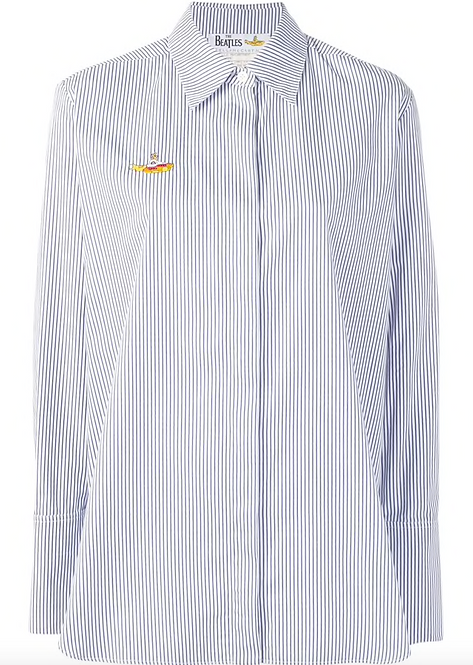 Blue & White Stripe Classic Shirt w 'The Yellow Submarine Embroidery'