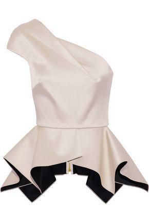 Gold Satin Rodmell Single Shoulder Blouse with Peplum Waist