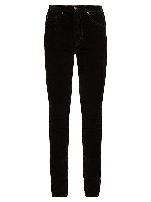 Black Velvet Stretch Mid Rise Jean