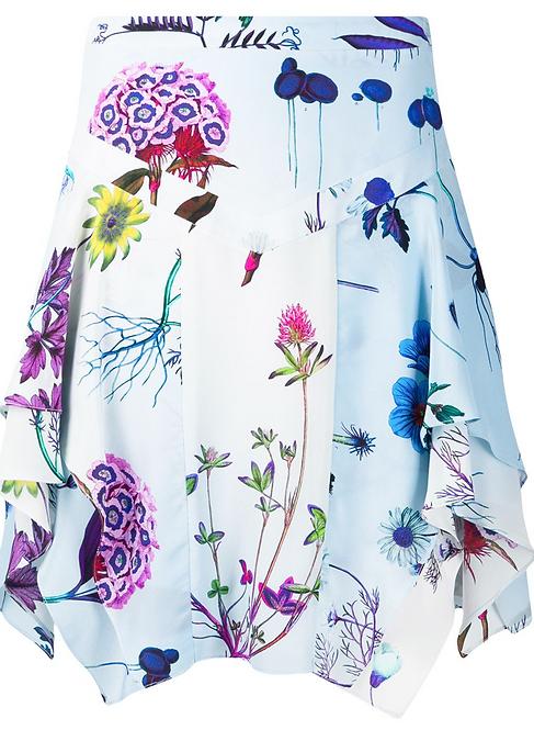 Pale Blue Floral Print Drape Mini Skirt