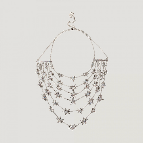 Six Strands Statement Star Necklace