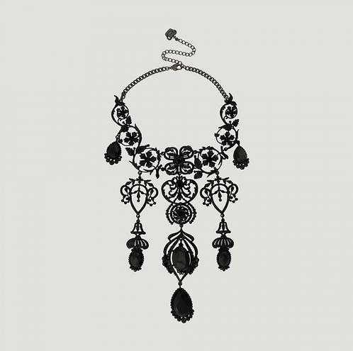 Elaborate Chandelier Floral Pendant Crystal Necklace