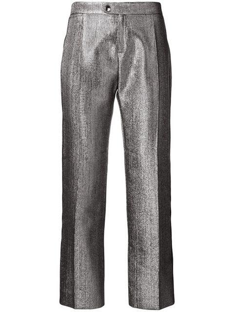 Metallic Grey-Brown Slim Leg High Waist Evening Pant