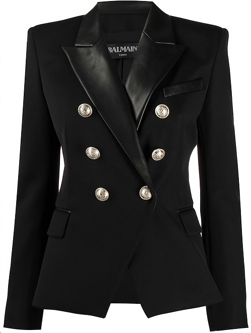 Black Double Breasted Wool Blazer with Leather Lapels