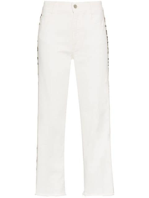 """White Cropped Jeans with """"Stella McCartney"""" Down Sides"""