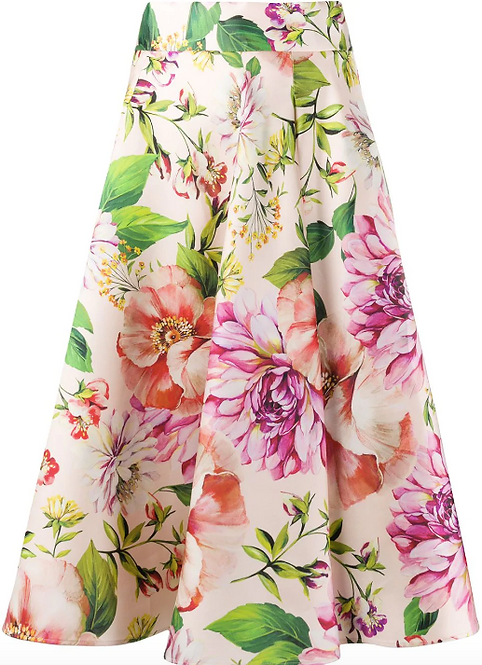 Pale Pink Floral Circular A-Line Skirt