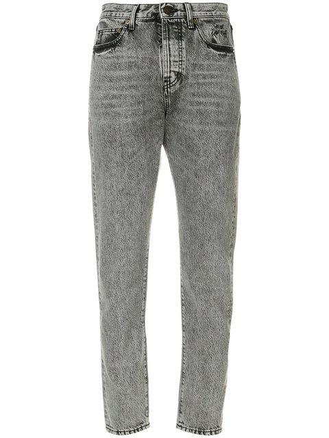 Grey Acid Wash Denim Stretch Jean
