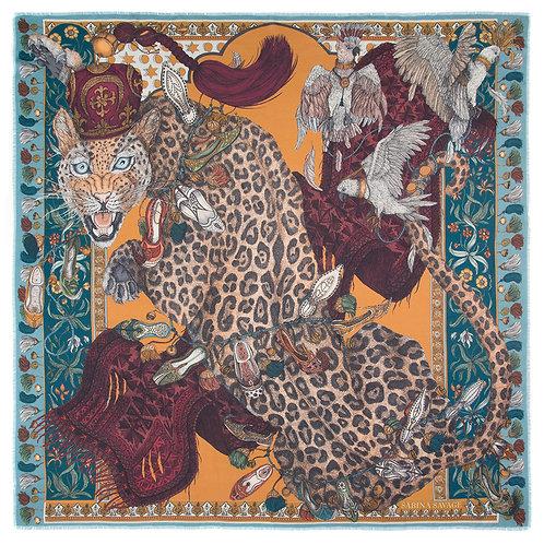 The Leopards Bazar Silk Twill Scarf in Teal & Tumeric