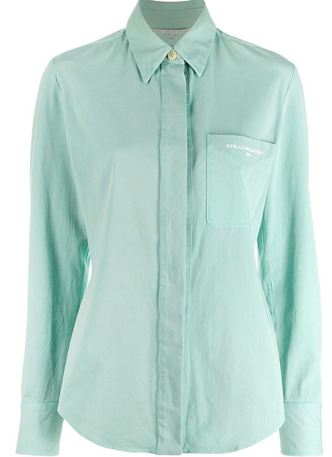 Pale Green Classic Canvas Fitted Shirt