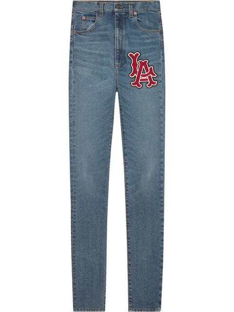 Denim Skinny Jeans with LA Embroidery Patch