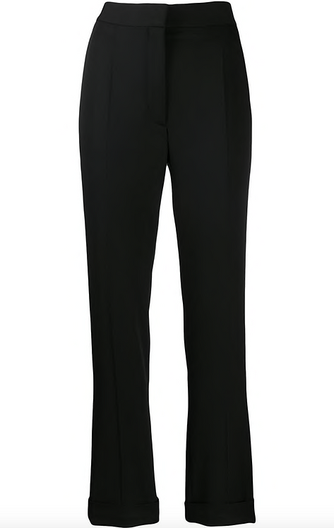Black Tailored Straight Leg Pant w Small Ankle Cuff