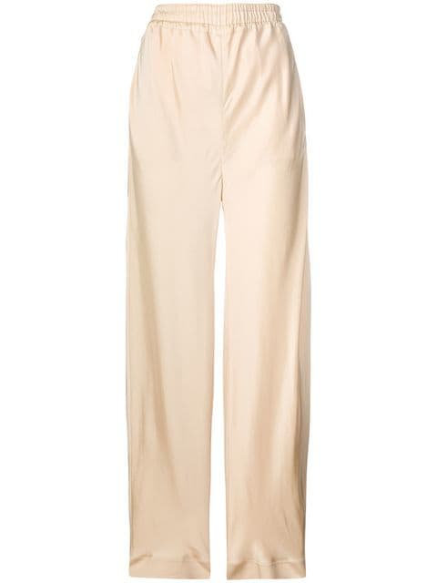 Camel Silk Twill Palazzo Pant with Elastic Waist