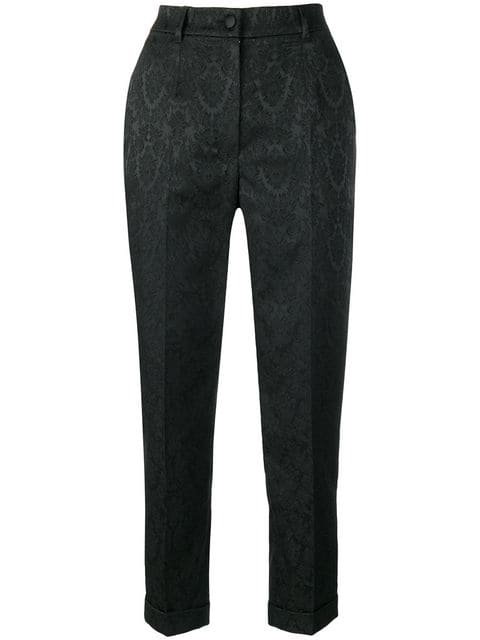 Black Cropped Jacquard High Waist Trousers