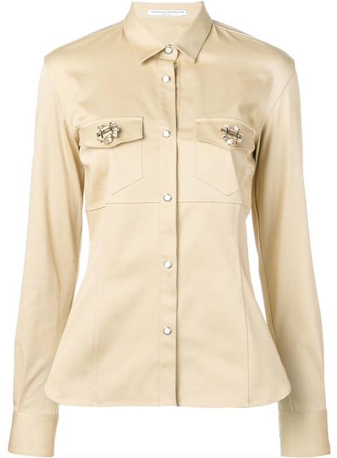 Kahki Cotton Shirt Jacket w Press Studs and Pocket Embellishment
