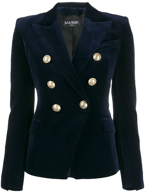 Navy 6 Button Double Breasted Velvet Blazer