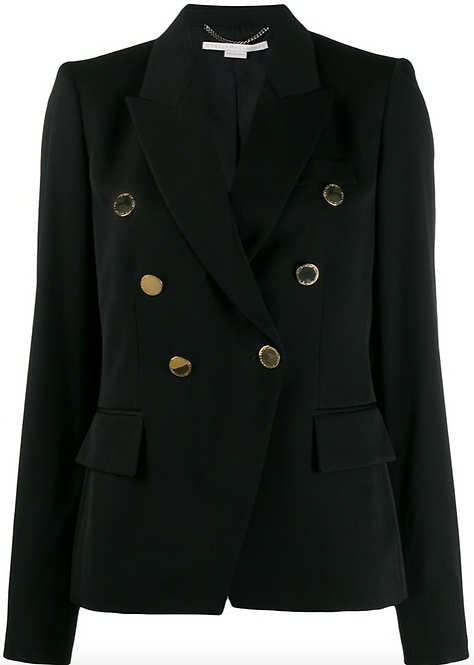 Ink Navy Double Breasted Short Fitted Blazer