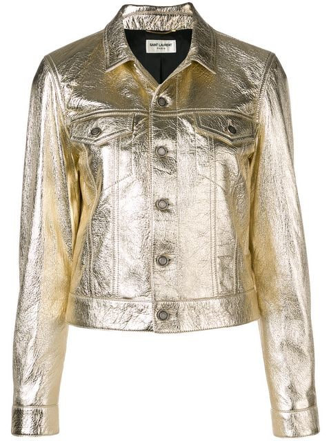 Gold Boxy Fit Denim Style Jacket