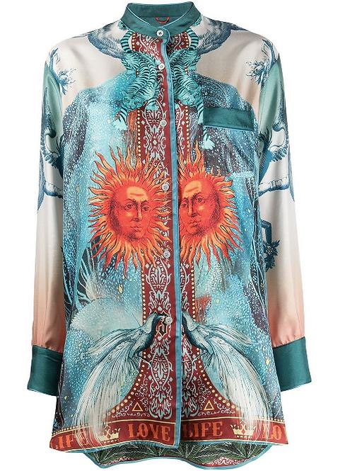 Luna Printed Silk Pyjama Oversized Blouse