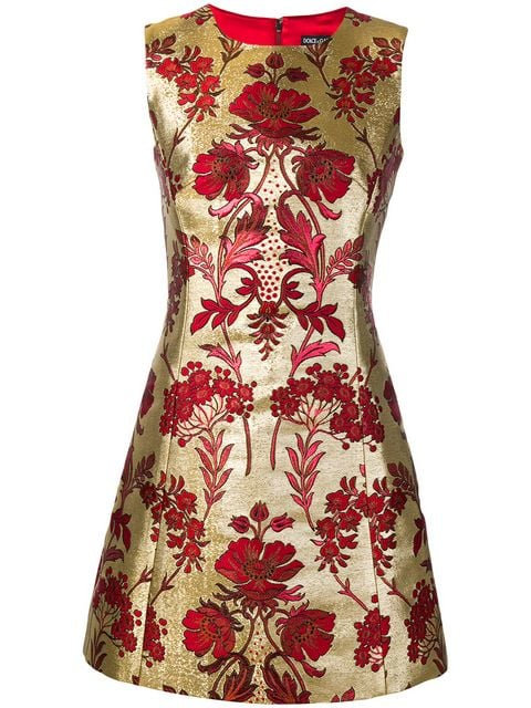 Red & Gold Brocade Jacquard Sleeveless Cocktail Dress