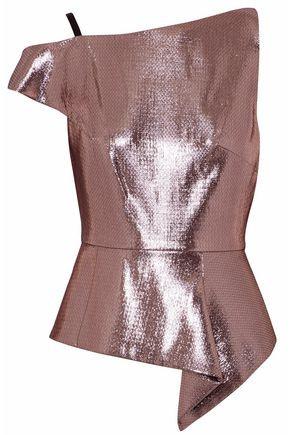 Pink Lurex Holmas One-Shoulder Textured Lame Peplum Top